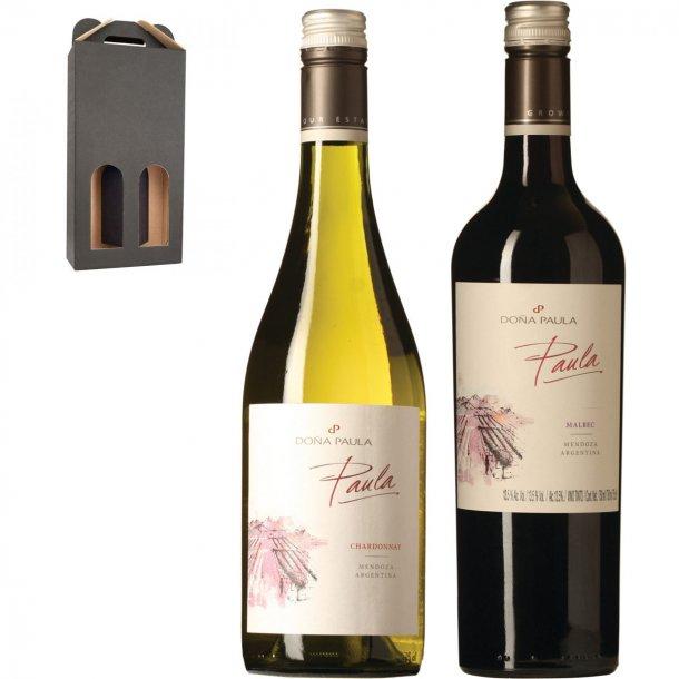 Paula - Rød & hvidvin i gaveæske